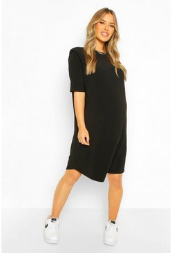 Black Maternity Shoulder Pad Shift Dress