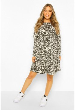 Stone Maternity Leopard Print Tie Waist Sweat Dress