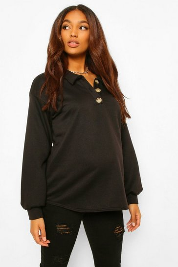 Black Maternity Button Front Collar Sweatshirt