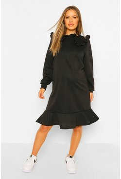 Black Maternity Collar Detail Ruffle Hem Sweat Dress