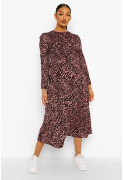 Pink Maternity Ditsy Star Smock Midaxi Dress