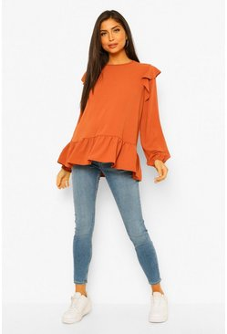 Rust orange Maternity Woven Ruffle Hem Blouse
