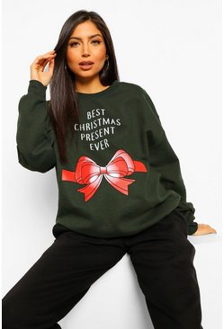 Forest green Maternity 'Best Christmas Present Ever' Sweatshirt