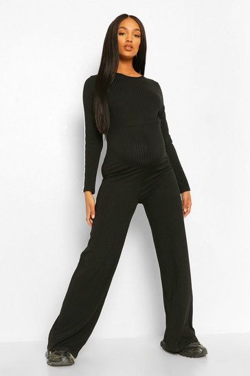 Black Maternity Wide Leg Stripe Sleeve Jumpsuit