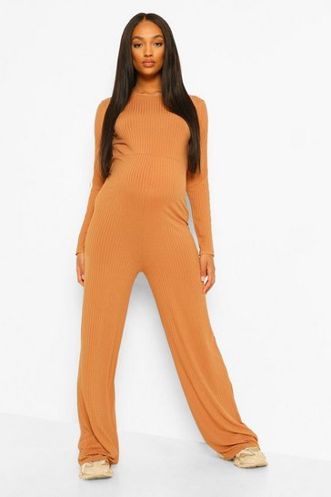 Camel beige Maternity Wide Leg Stripe Sleeve Jumpsuit