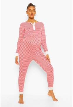 Maternity Christmas Stripe Lounge Jumpsuit, Red rouge