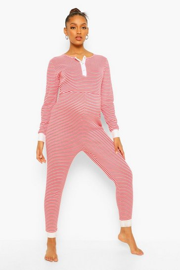Red Maternity Christmas Stripe Lounge Jumpsuit