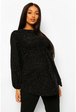 Black Maternity Sparkle Fluffy Knit Jumper