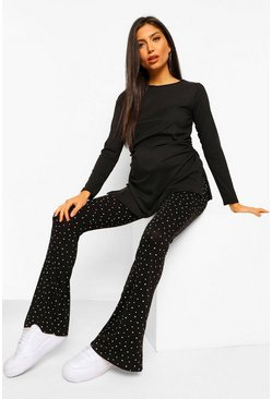 Black Maternity Star Print Flare Legging
