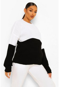 Black Maternity Colourblock Jumper