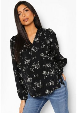 Black Maternity Floral Wrap Puff Sleeve Blouse