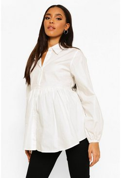 White Maternity Cotton Smock Shirt