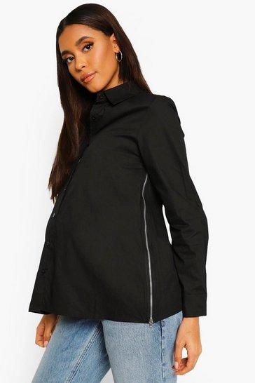 Black Maternity Side Zip Cotton Shirt