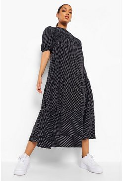 Black Maternity Polka Dot Shirred Tiered Maxi Dress