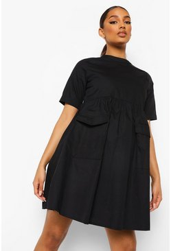 Black Maternity Cotton Pocket Detail Smock Dress