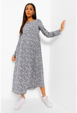 Navy Maternity Sweetheart Neck Midaxi Dress