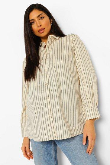 Stone beige Beige Maternity Cotton Stripe Puff Sleeve Shirt