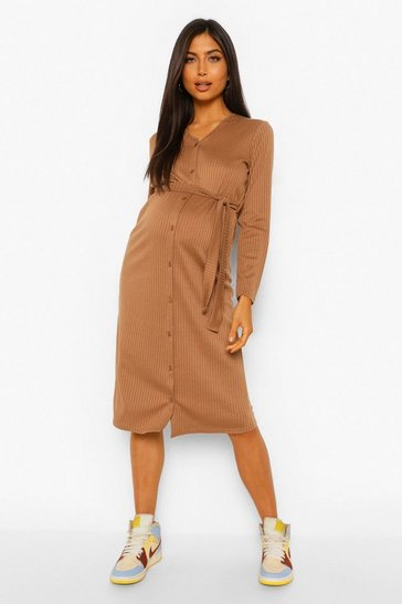 Camel beige Maternity Rib Long Sleeve Button Down Dress