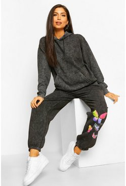 Black Maternity Acid Wash Butterfly Tracksuit
