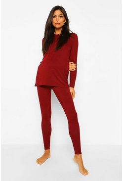 Berry red Maternity Button Front Long Sleeve Pyjama Set