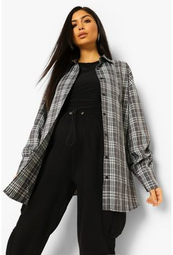Black Blue Maternity Oversized Check Shirt