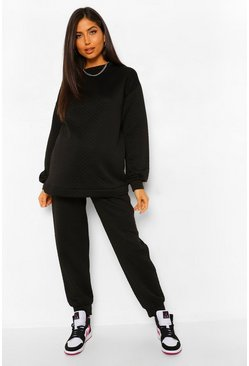 Black Maternity Quilted Oversized Jogger