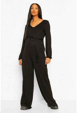 Black Maternity Slouchy Wide Leg Jumpsuit