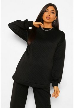 Black Maternity Quilted Oversized Sweatshirt