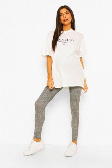 Black Maternity Check Side Stripe Legging