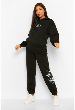 Black Maternity Rose Print Hooded Tracksuit