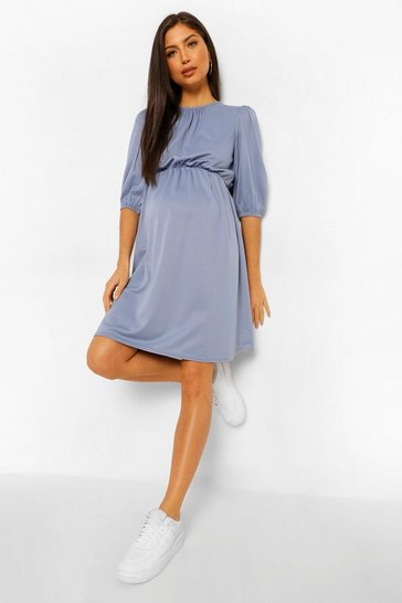 Slate blue blue Maternity Tie Back Skater Dress