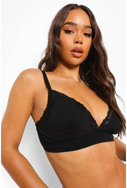Black Maternity Lace Soft Cotton Nursing Bra