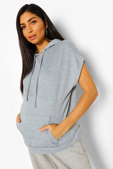 Grey Maternity Pocket Front Sleeveless Hoody