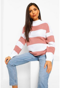 Rose pink Maternity High Neck Stripe Jumper