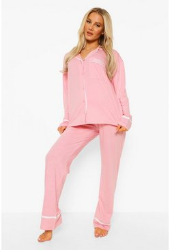 Baby pink pink Maternity Jersey Button Long Sleeve Pyjama Set