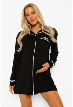 Black Maternity Jersey Button Embroidered Nightie