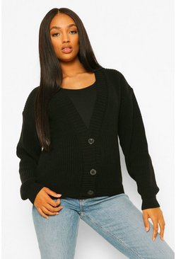 Black Maternity Button Front Cardigan