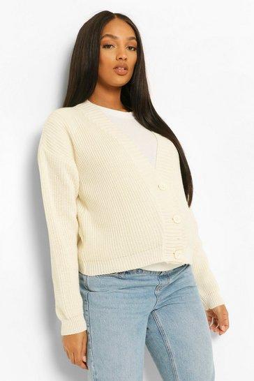 Cream white Maternity Button Front Cardigan