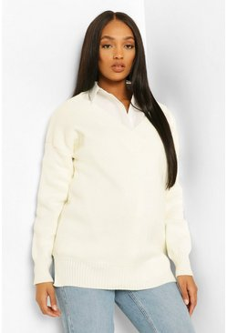Cream white Maternity Rib V Neck Side Split Jumper