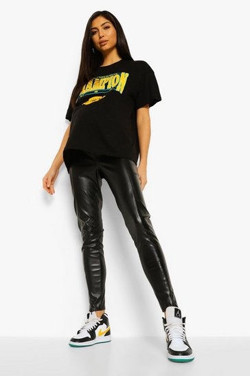 Black Maternity Faux Leather Invisible Zip Leggings
