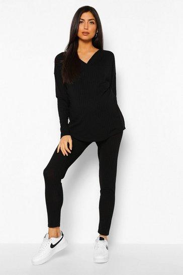 Black Maternity Nursing Knitted Loungewear Set
