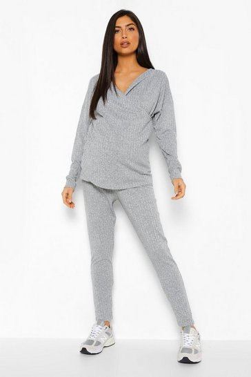 Grey marl grey Maternity Nursing Knitted Legging Lounge Set