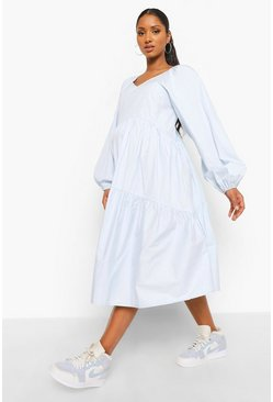 Blue Maternity Cotton Poplin Smock Midi Dress