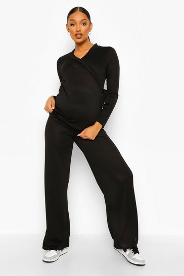 Black Maternity Tie Side Wide Leg Lounge Set