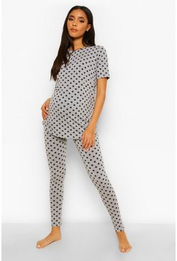 Grey Maternity Star Print Pyjama Set