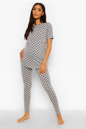 Grey Maternity Star Print Pyjama Set