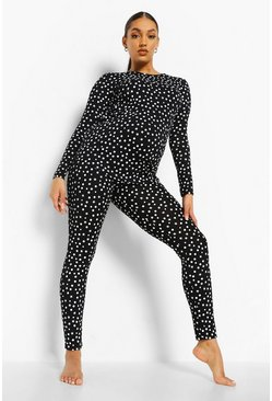 Black Maternity Polka Dot Pyjama Set