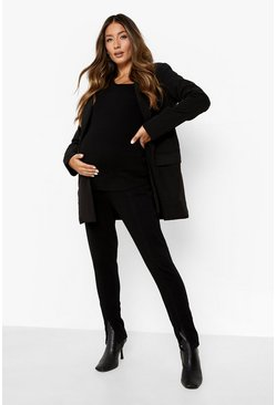 Washed black Maternity Stretch Split Skinny Jean