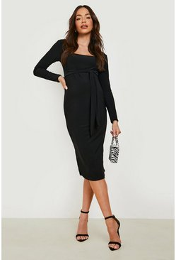 Black Maternity Square Neck Long Sleeve Midi Dress
