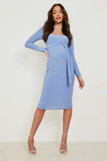 Blue Maternity Square Neck Long Sleeve Midi Dress